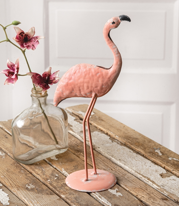 CTW Home Collection Antiqued-Pink-Metal Tabletop Flamingo Figurine