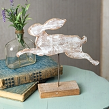 CTW Home Collection Wooden Leaping Rabbit Cut-Out with Base