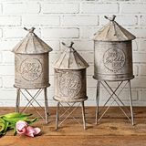 CTW Home Collection Set of 3 Galvanized-Metal Silo Storage Containers
