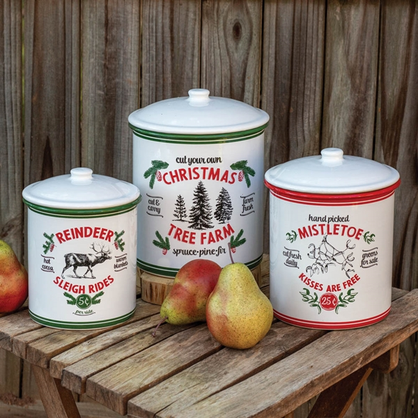 CTW Home Collection Set of 3 Holiday Designs Metal Storage Containers