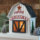CTW Home Collection Wooden Holiday Barn Lantern with Merry Christmas
