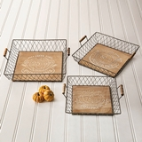 CTW Home Collection Set of Three Autumn-Theme Wood and Metal Trays