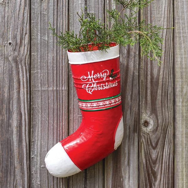 CTW Home Collection Red and White Enameled-Metal Christmas Stocking