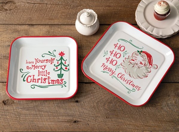 CTW Home Collection Set of Two Enameled-Metal Red Trim Christmas Trays