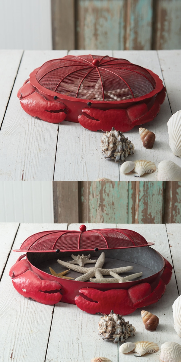 CTW Home Collection Red-Metal Crab-Shaped Sifter Tray with Wire Lid