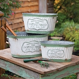 CTW Home Collection Set of Three Rustic Potting Shed Metal Buckets