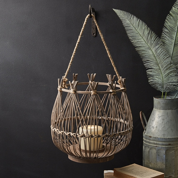 CTW Home Collection Tropical Chic Woven Rattan Cabana Lantern