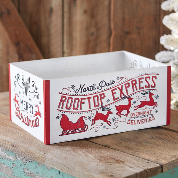 CTW Home Collection North Pole Rooftop Express Wooden Christmas Crate