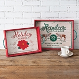 CTW Home Collection Set of Two Wood Holiday Serving Trays