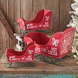 CTW Home Collection Set of Three Large Wooden Christmas Sleighs