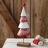 CTW Home Collection Hand-Painted Red-and-White Metal Christmas Tree