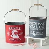 CTW Home Collection Set of 2 'Christmas Coal' Metal Buckets w/ Handles