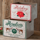 CTW Home Collection Set of Two Wood Holiday-Themed Storage Crates