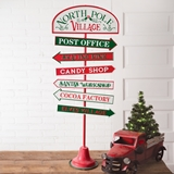 CTW Home Collection North Pole Village Directional Metal Sign w/ Stand