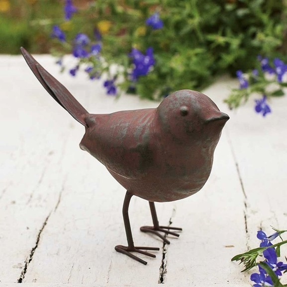 Metal Songbird Figurines with Green/Rust-Colored Finish (Set of 4)