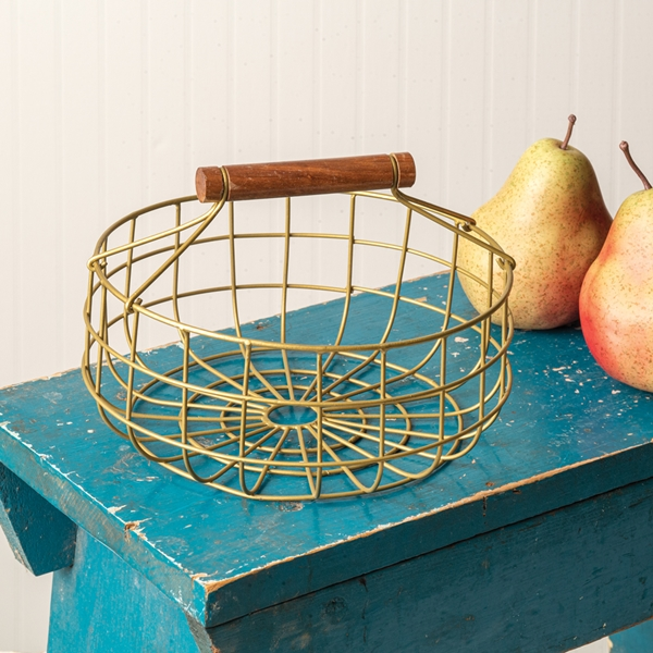 CTW Home Collection Gold-Finish-Metal Gathering Basket w/ Wood Handle