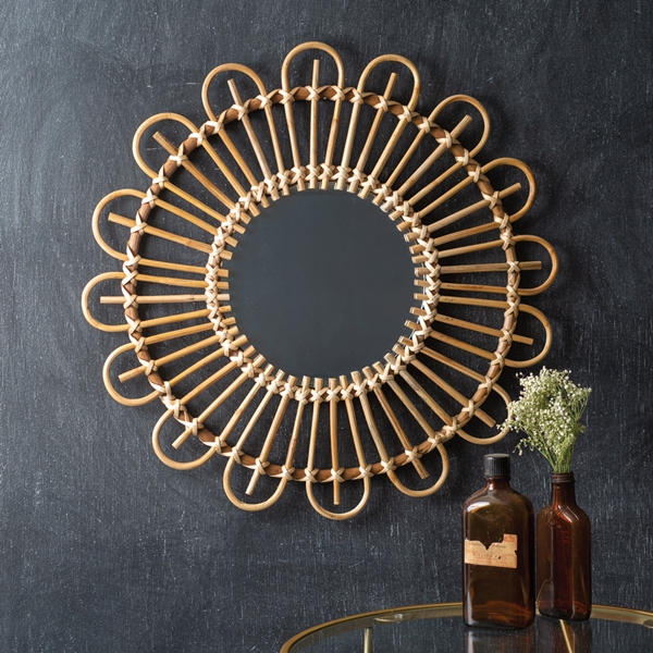 CTW Home Collection Tropical Chic Artistic Round Rattan Wall Mirror