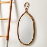CTW Home Collection Rattan Teardrop Shape Wall Mirror