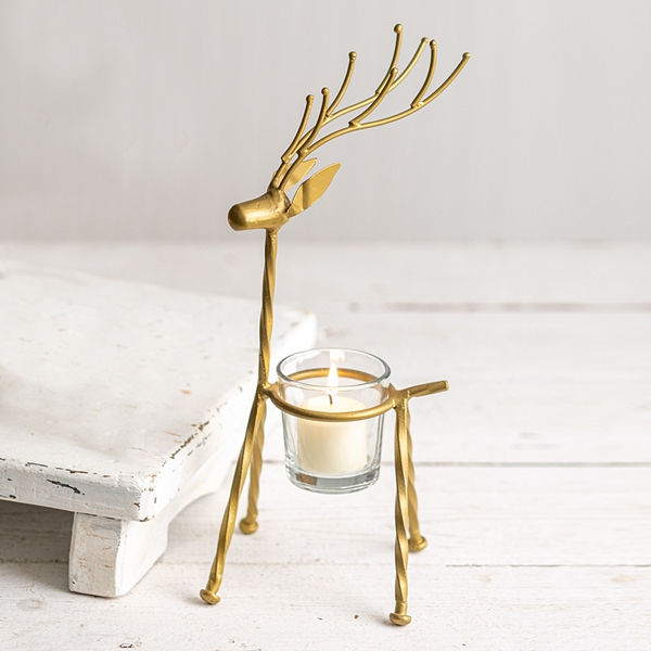 CTW Home Collection Straight-Antlers Metal Reindeer with Votive Holder