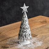 CTW Home Collection Small Antiqued Metal Christmas Tree with Star Atop