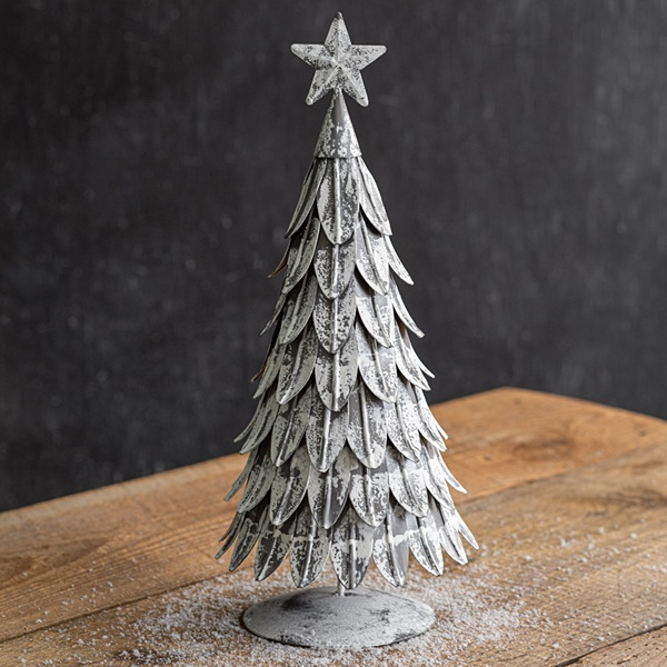 CTW Home Collection Large Antiqued Metal Christmas Tree with Star Atop