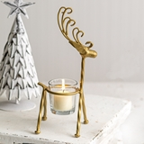 CTW Home Collection Curly-Antlers Metal Reindeer with Votive Holder