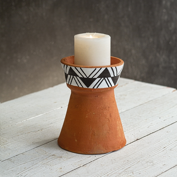 CTW Home Collection Small Terra Cotta Candle Holder with Bold Design