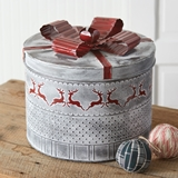 CTW Home Collection Vintage Christmas Round Tin with Reindeer Motif