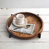 CTW Home Collection Modern Rustic Round Wood Tray with Metal Base