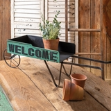 CTW Home Collection Green Metal Welcome Wheelbarrow Flower Cart