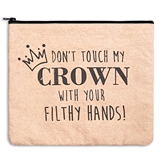 """CTW Home Collection """"Don't Touch My Crown"""" Canvas Travel Bag"""