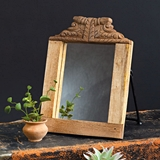 CTW Home Collection Handcarved Wooden Freestanding Mirror with Stand