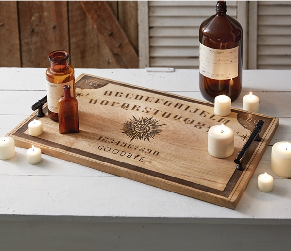 CTW Home Collection Ouija Board Solid Wooden Server with Metal Handles