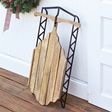 CTW Home Collection Wood-and-Metal Vintage-Inspired 'Rosebud' Sled