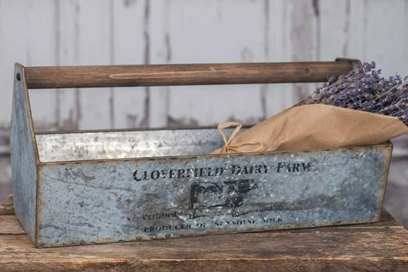 CTW Home Collection Cloverfield Dairy Farm Metal Trough/Caddy