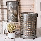 CTW Home Perforated Galvanized-Metal Bins/Candle Holders (Set of 2)