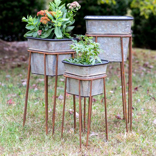 CTW Home Collection Set of 3 Galvanized Square Garden Bins with Stands