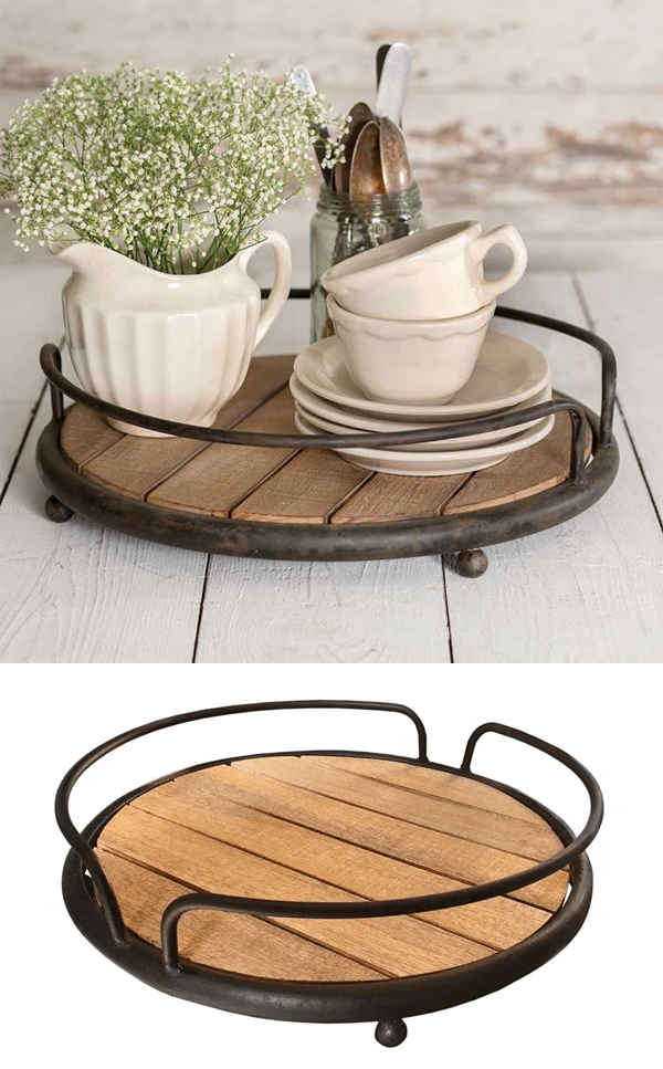 CTW Home Collection Round Metal and Wood-Plank Serving Tray