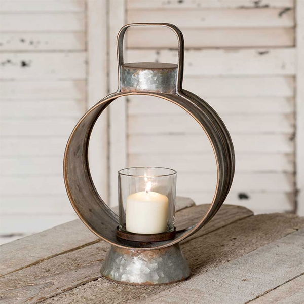 CTW Home Collection Small Workman's Metal Lantern with Glass Chimney