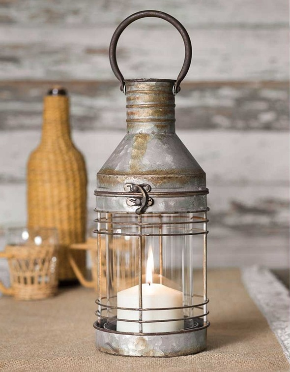 CTW Home Collection Metal Carriage Candle Lantern with Glass Chimney