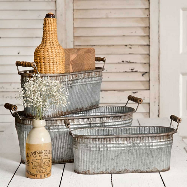 CTW Home Collection Set of Three Rustic Metal Bins with Wood Handles