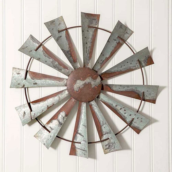 CTW Home Collection Galvanized-Metal with Patina Windmill Wall Decor