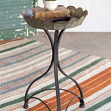 CTW Home Collection Galvanized-Metal and Cast-Iron Fluted Garden Stand