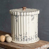 CTW Home Collection Whitewashed Ribbed-Metal Canister with Lid