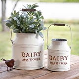 CTW Home Collection Set of Two White-Enameled-Metal Dairy Buckets
