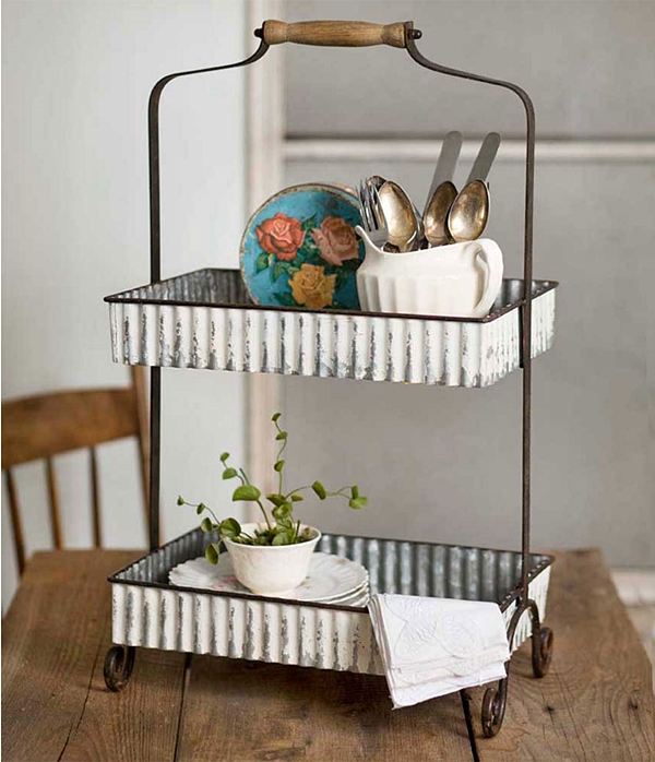 CTW Home Collection Whitewashed Corrugated-Metal Two-Tier Caddy