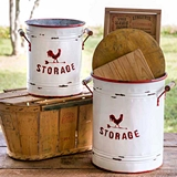 CTW Home Collection Set of Two White and Red Storage Tins with Handles