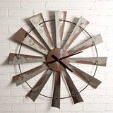CTW Home Collection Galvanized-Metal with Patina Windmill Wall Clock