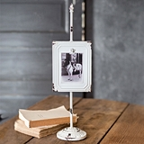 CTW Home Collection Antiqued White Metal Photo Stand w/ Pedestal Base