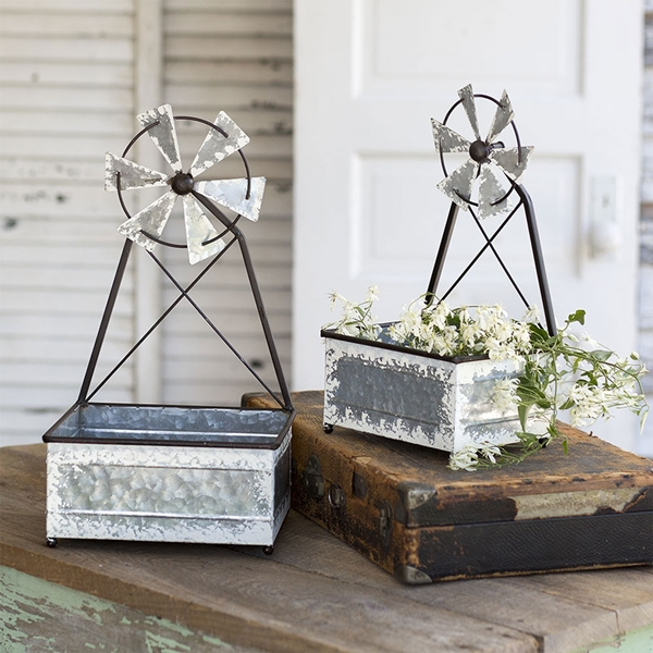 CTW Home Collection Set of Two Galvanized-Metal Windmill Planters